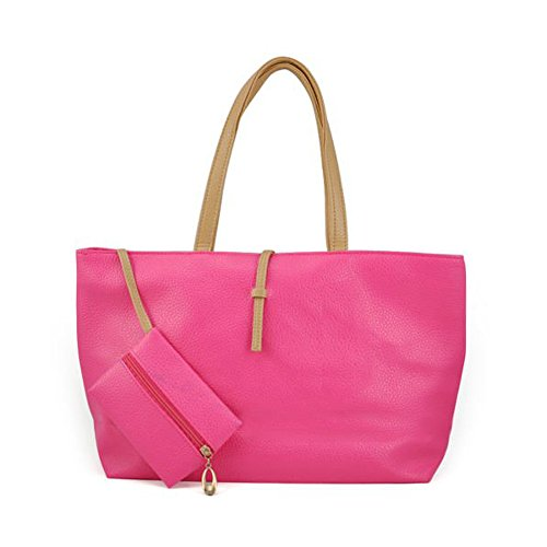 SODIAL(R) - Bolso de tela para mujer negro negro rosa - rosa