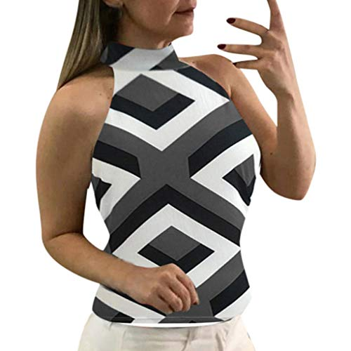 VLDO Women Sexy Hanging Neck Geometric Print Sleeveless Tank Tops Blouse Black ()