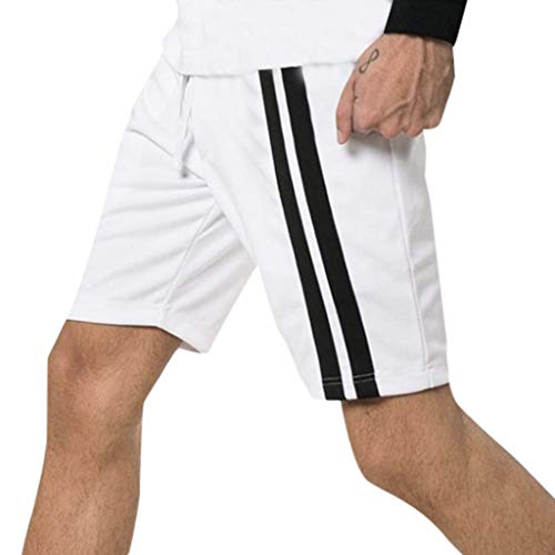ZEFOTIM Casual Shorts for Fashion Men's Sport Pocket Casual Sweatpants Drawstring Sport Shorts(White,Large) ()