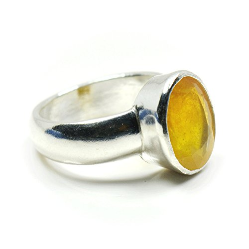 Jewelryonclick 3 Carat Natural Yellow Sapphire Gemstone 92.5 Sterling Silver Ring For Men & Women