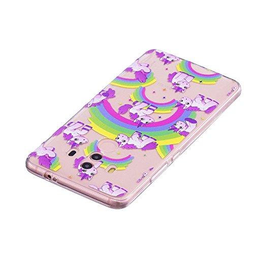 Cover para Huawei Mate 10 Pro , WenJie Unicornio del arco iris Transparente Color sólido TPU Silicona Suave Funda Case Tapa Caso Parachoques Carcasa Cubierta para Huawei Mate 10 Pro
