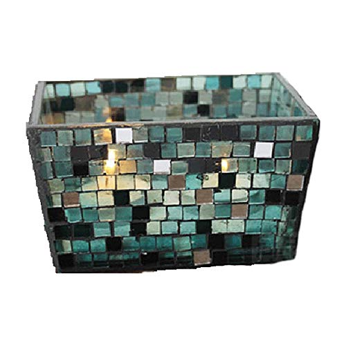Blue Rainbow Creative Candlestick Glass Romantic Mosaic Ins Cuboid Sparkle Candle Holder Pillar Taper Home Wedding Party Dinner Fireplace Candlelight Dining Room Decor Centerpiece Gift