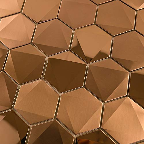 HomeyMosaic Hexagon Stainless Steel Tile Backsplash for Kitchen Bathroom Wall Decor Metal Mosaic Tiles,Copper 3D Pyramid,5 Tiles
