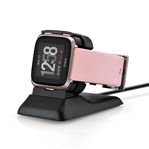 Kartice for Fitbit Versa Charger,Fitbit Versa Charging Dock Station Holder Charging Clip Premium Plastic Cable for Fitbit Versa Smart Watch (Black) by Kartice