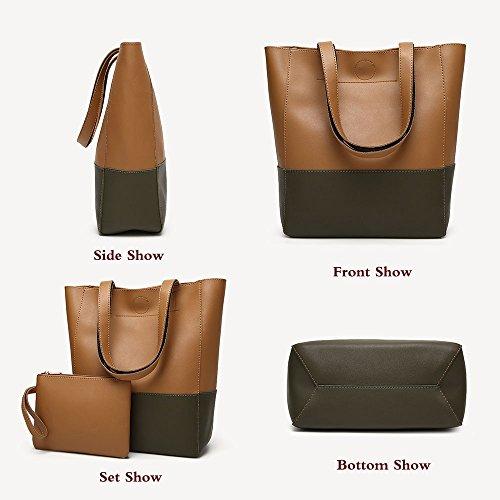 Set Handle Satchel 2Pcs Shoulder Top Hobo Women Purse Green Bag FiveloveTwo Handbag Tote Brown Large Balck qw71tIvW4