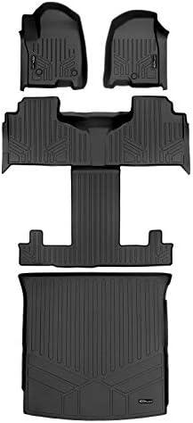 SMARTLINER 3 Rows Floor Mats & Cargo Liner Set for 2021 Chevrolet Tahoe/GMC Yukon with 1st & 2nd Row Bucket Seats