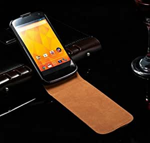 10 Pcs/lot Genuine Leather Case For LG Google Nexus 4 E960 Luxury Skin Cover Brand New Flip Style Black Wholesale --- Color:Black
