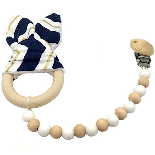 Amyster Chupete clip de madera del oído Mordedor Montessori juguete de los granos de madera de silicona anillo de conejito...
