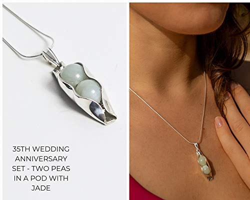 35th Wedding Anniversary Gift Silver Two Peas In A Pod with Jade Peas