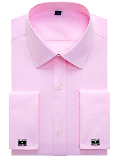 Alimens & Gentle French Cuff Regular Fit Dress Shirts (Cufflink Included), Twilled Pink, 18.5