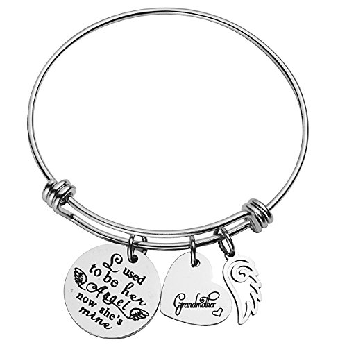 Wire Memory Designs Bracelet (omodofo Memorial Bracelet I Used To Be Her Angel Now She's Mine Grandmother Charm Adjustable Cuff Bangle Bereavement Gift Keepsake for Girls)