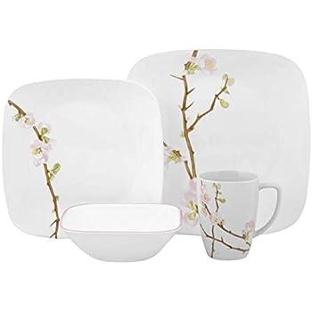 Corelle Cherry Blossom Square Dinnerware Set (Serves 4) 16pc Multicolored  sc 1 st  Amazon.com & Amazon.com | Corelle Cherry Blossom Square Dinnerware Set (Serves 4 ...