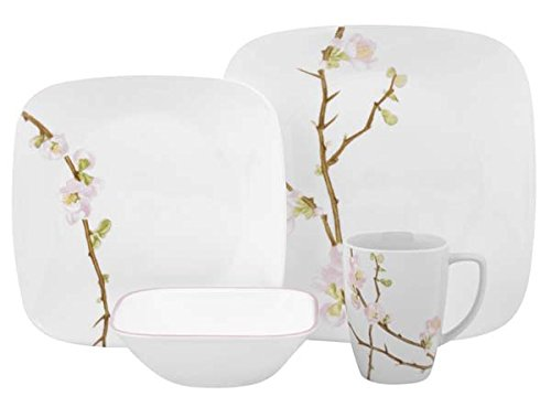 Corelle Cherry Blossom Square Dinnerware Set (Serves 4) 16pc, Multicolored