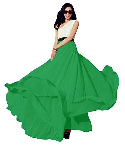 Urban CoCo Women's Summer Chiffon Mopping Floor Length Big Hem Solid Beach Maxi Skirt (X-Small, Green) ()