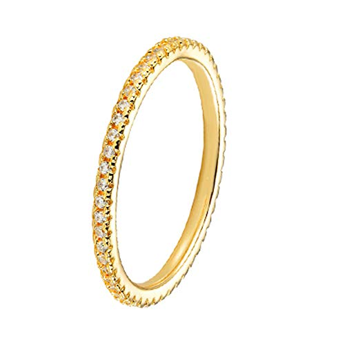 Erllo 1.5mm Rhodium Plated Ring 925 Sterling Silver Micropave Cubic Zirconia CZ Full Eternity Bands for Women (Yellow Gold Color, 10)
