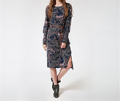 Angelia Daugh NEW New Fashion Women's Autumn Dress Long Puff Sleeve Printed Flowers Dresses Casual O-Neck Women Party Dress Talever BULE 4XL (50s Day Dress Up Ideas)