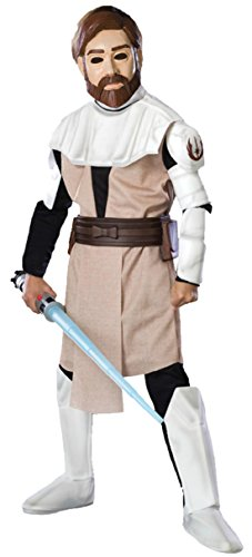 Boys Obi Wan Kenobi Deluxe Kids Child Fancy Dress Party Halloween Costume, S (4-6)