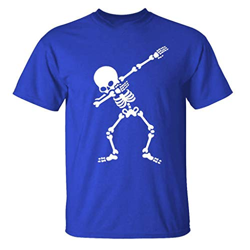 Men's T-Shirt Skull Printing Tops New Summer Casual Elastic Short Sleeve Blouse Beach Shirt Blue