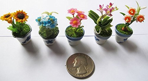 Set 5 Lovely Mixs Plant Flower Dollhouse Miniature ,Home Decoration