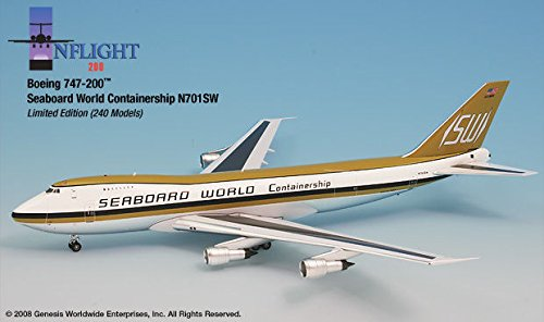 (Seaboard World Airlines 747-200 Airplane Miniature Model N701SW Diecast 1:200 Part# A012-IF742009)