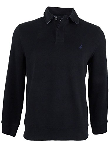 Nautica Men's Classic-Fit French Ribbed Long Sleeve Polo, True Black, XXL