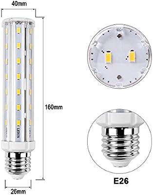 MHtech 2 x 15 W E26 LED maíz luz bombilla T10 Tubular bombilla LED 1500 lúmenes 150 vatios equivalente a incandescente E26 tamaño mediano Base bombilla LED ...