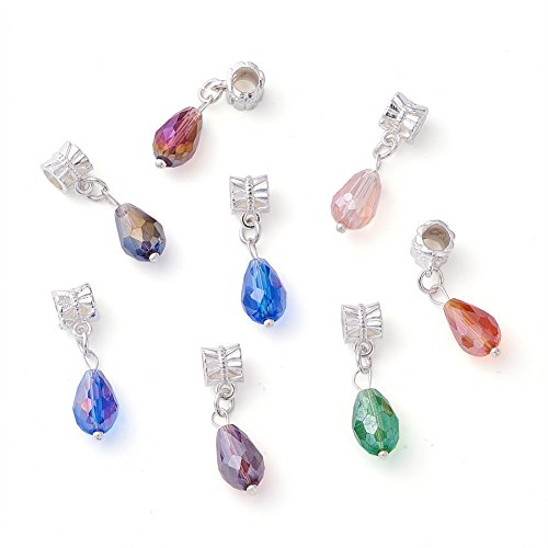Kissitty 100-Piece European Glass Dangle Drop Beads Random Mixed Color 1.14