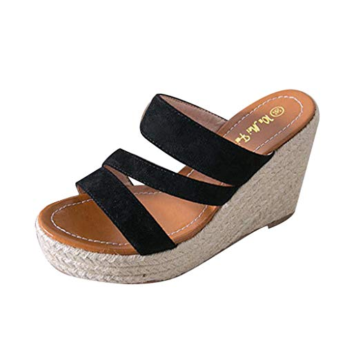 Benficial Summer Fashion High Heels Wedge Slope Sandals Comfort Outdoor Party Casual Shoes Black ()