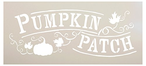 Pumpkin Patch Stencil by StudioR12 | Hand-Drawn, Vines Word Art - Reusable Mylar Template | Painting, Chalk, Mixed Media | Use for Wall Art, DIY Home Decor - Choose Size (12