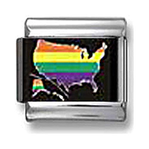 Gay Pride American Flag Italian charm