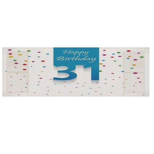 - 31st Birthday Decorations Microwave Oven Cover,31 Year Happy Greetings Stylized Text Confetti Rain Colorful Dots Cover for Kitchen,36