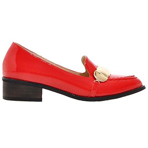 ENMAYER Mujeres Cuadrado Hermoso Con la Selección de Antideslizantes Súper Brillante Caramelo Zapatos de la Manera Ocasional Rojo