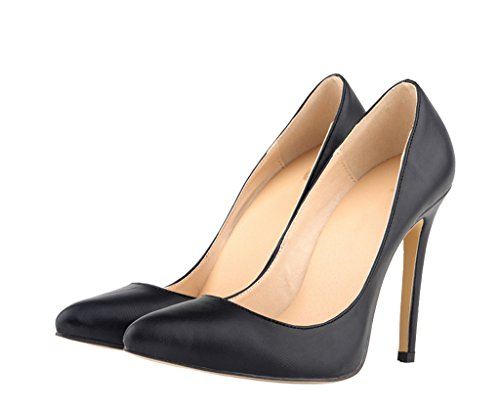 Fashion Shoes Women's Dress Sexy Pumps On Mouth PU Black Shallow Heeled Slip Soft Pointed Toe High Uqdq7n