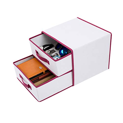 Woffit Organizing Storage Box Drawers - Set of 2 Foldable Storage Drawers - Great Basket Bins for Closet Accessories, Office Supplies, Baby Kids & Guest Room, Small Toys & for All Odds and Ends