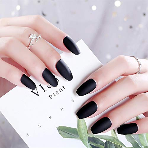 24Pcs/Set White Short Round Nail Tips Black Full Cover Frosted Matte False Nails Small Round Oval Fake Nails Art Set 128 black