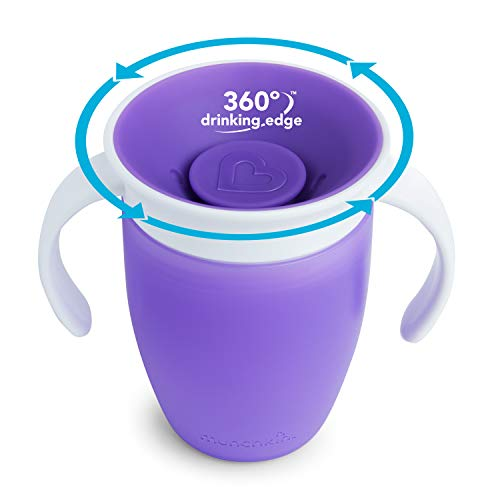 41HDZn5Y4XL - Munchkin Miracle 360 Trainer Cup, Pink/Purple, 7 Oz, 2 Count