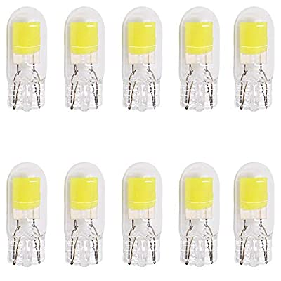 Alopee 10-Pack T10 Ultra Bright White COB Light Source LED Bulbs Replacement for 194 W5W 168 2825 501 Halogen Bulb Interior Lights License Plate Light Bulb: Automotive