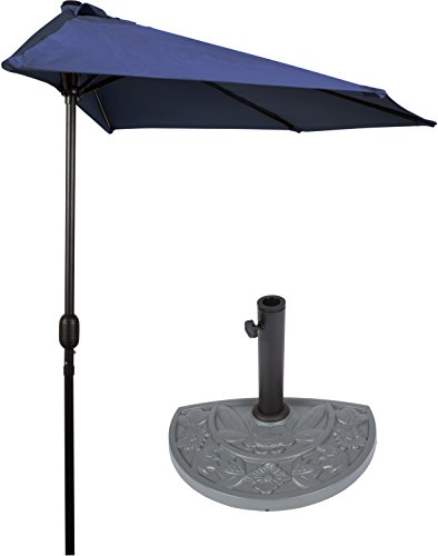 Cheap 9′ Patio Half Umbrella with Gray Floral Half-Base by Trademark Innovations (Blue)