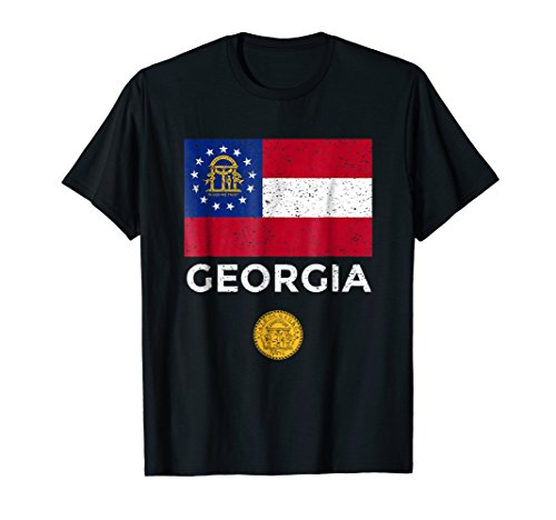 Georgia State Flag T-Shirt with Seal - Vintage - State Georgia Seal