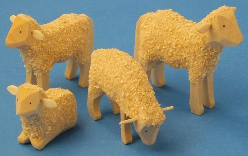 Dregano Wooden Sheep Set of 4 Hand Carved Germany