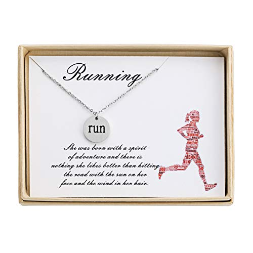 Running Necklace Disc Sport Pendant Necklace Jewelry by Run Inspired Designs Runner Gift Comes with Inspirational Quote