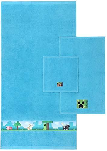 Mojang Minecraft Kids 3 Piece Bath Towel Set - Bath, Hand, Washcloth Set Featuring Creeper - Super Soft & Absorbent Fade Resistant Cotton Towels (Official Mojang Product)