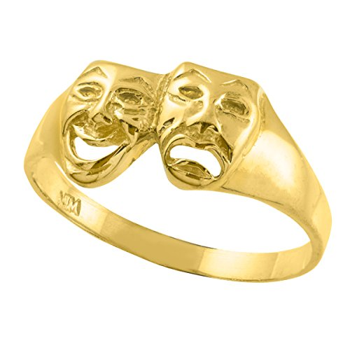 Polished 10k Yellow Gold Theater Acting Masks of Comedy and Tragedy Drama Ring
