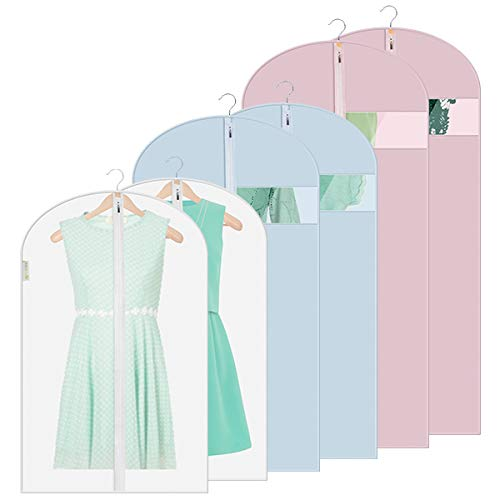 SASUM Garment Bags Clear, Moth Proof Garment Cover 3 Colors Breathable Full Zipper, Light Weight Closet Storage and Travel 6 Pack (2 Extra Large,2 Large & 2 Medium)