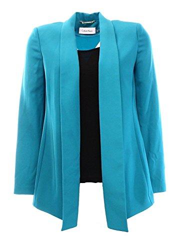 Calvin Klein Womens Solid Stretch Open-Front Blazer Green PS ()