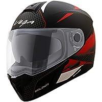 Vega Ryker D/V Bolder Full Face Helmet (Dull Black and Red, M)
