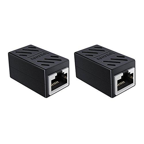 2 Pack RJ45 Coupler, Ethernet Coupler, Network Coupler for Cat7 Cat6 Cat5e Cat5, Ethernet Cable Coupler (Black-2 Pack)