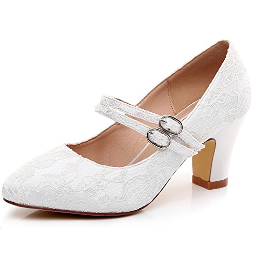 ace Wedding Shoes Thick Heels 2.5 inch-RS-2063-Ivory-EU38 Wedding Shoes (Ivory Wedge Shoes)