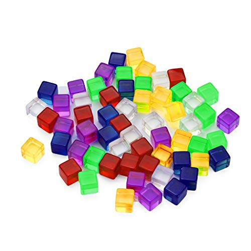 (UMFun60pcs Transparent Dice Acrylic Cube Board Game Kid DIY Fun and)