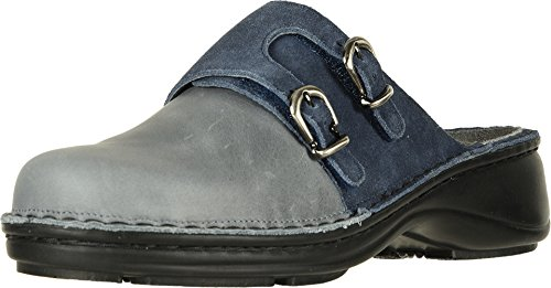 NAOT Women's Leilani Vintage Slate Leather/Midnight Blue Suede 40 M (Naot Suede Clogs)